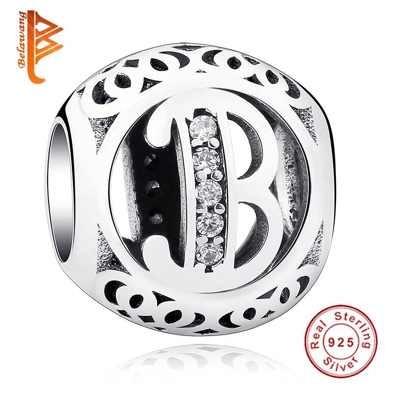 925 sterling silver bead fit pandora charm bracelet authentic european shimmering clear cz vintage capital letter