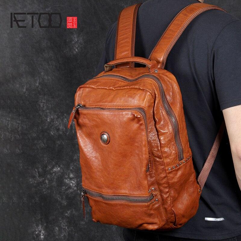 AETOO винтажная итальянская сумка на плечо из воловьей кожи, мужской рюкзак из воловьей кожи ручной работы, Повседневная сумка для компьютера