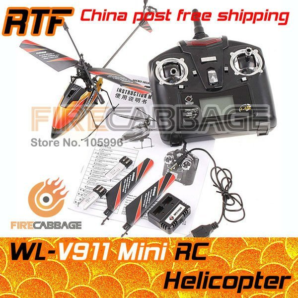 New package - HK post free shipping - Solo pro WL V911 4CH 2.4GHz LCD screen RC Helicopter RTF 3 corlor