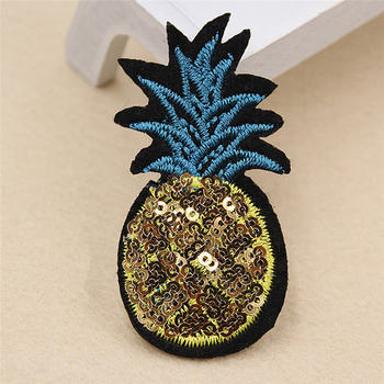 Embroidery Appliqued Patches Golden Pineapple Ananas Grape Fruit Sequins Shiny Bag Hat Clothes Deco 7*3.7cm 7.5*7.3cm 1 PC embroidery