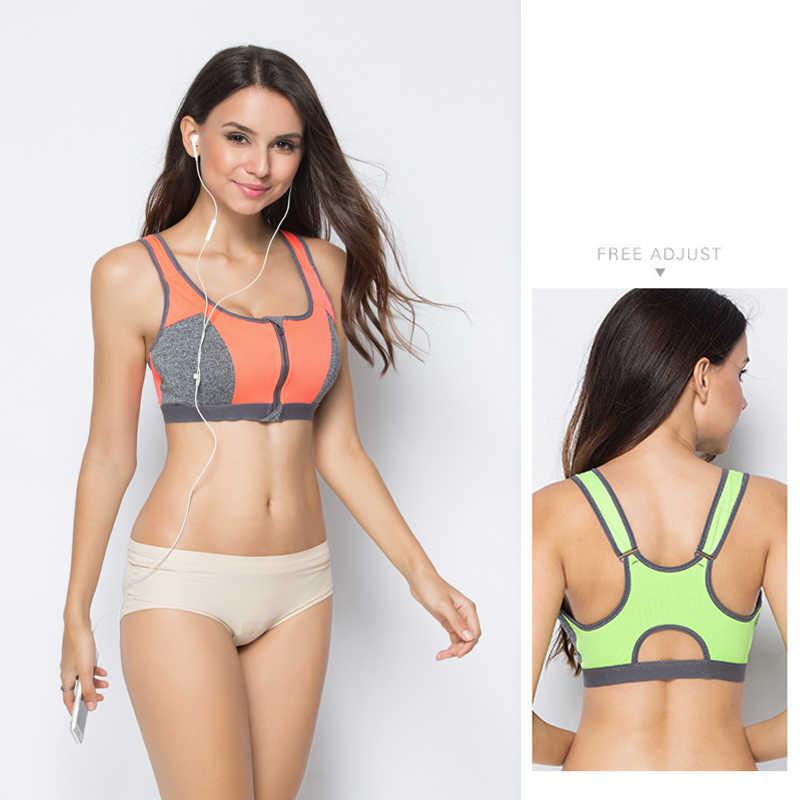 18a82ceaaa ... Double Layer Zipper Sports Bra Ladies Fitness Yoga Bra Push Up High  Padded Shirt Underwear Running ...