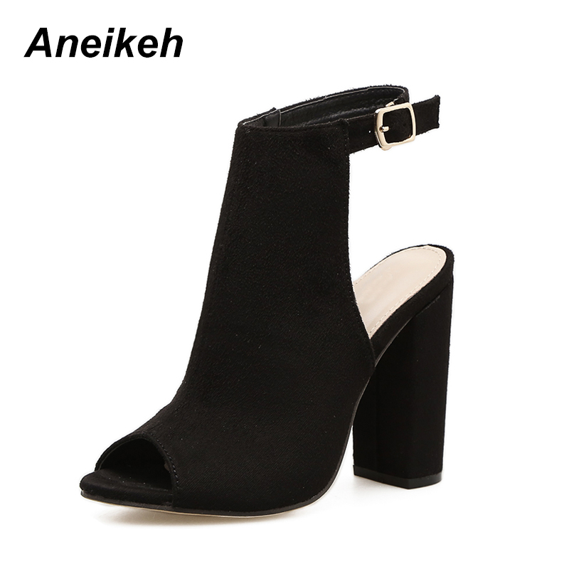 Aneikeh Fashion Flock Square High Heel Boots Spring Buckle Strap Ladies Sexy Solid Open Round Toe Shallow Boots Apricot Black 40