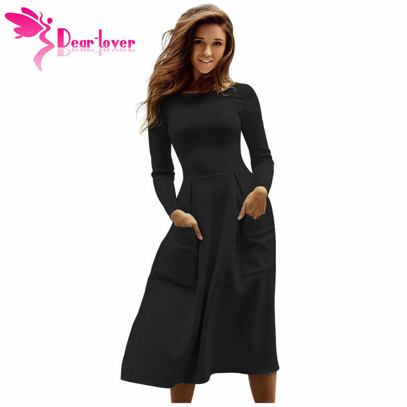 Dear Lover Womens Work Office Party A Line Robe Hiver Black Bateau Collar  Casual Big Pocket 21b74a07c00c