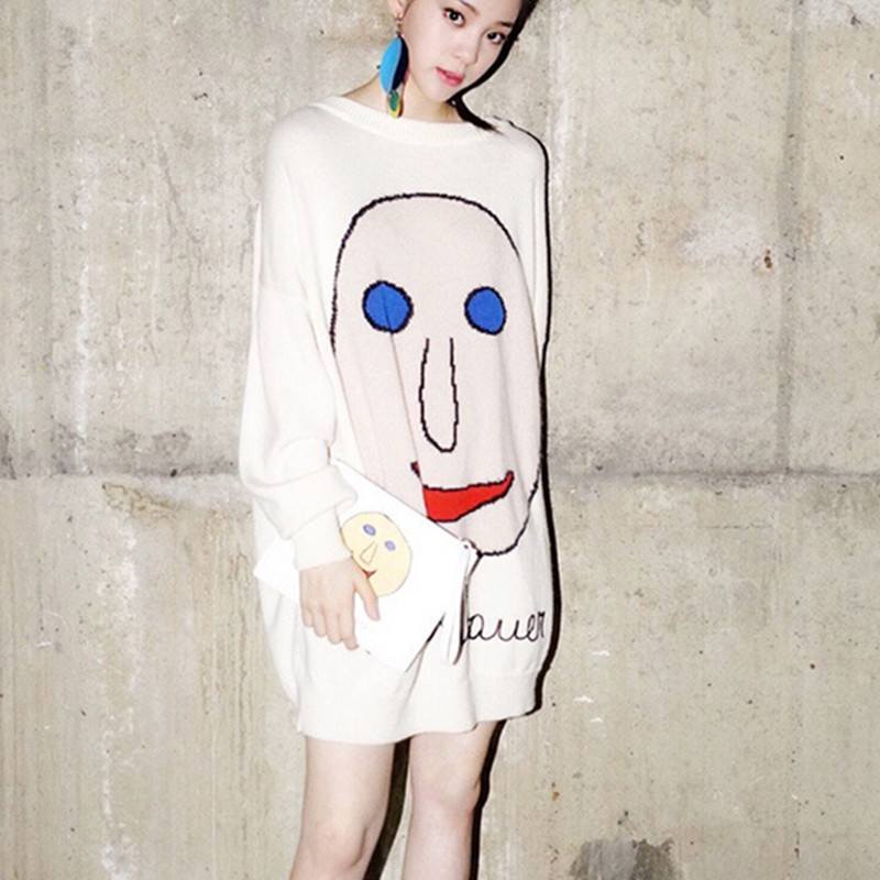 Fashion Oversized Sweater Women 2017 Smile Face Pattern White Knitted Dress Sweater Jumper Loose Casual Femal