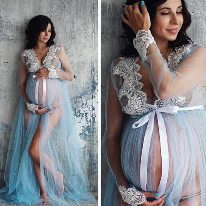 Lace V-Neck Hollow Out Maternity Dresses For Photo Shoot Pregnant Woman Clothes Long-length Maternity Dresses Photography Props