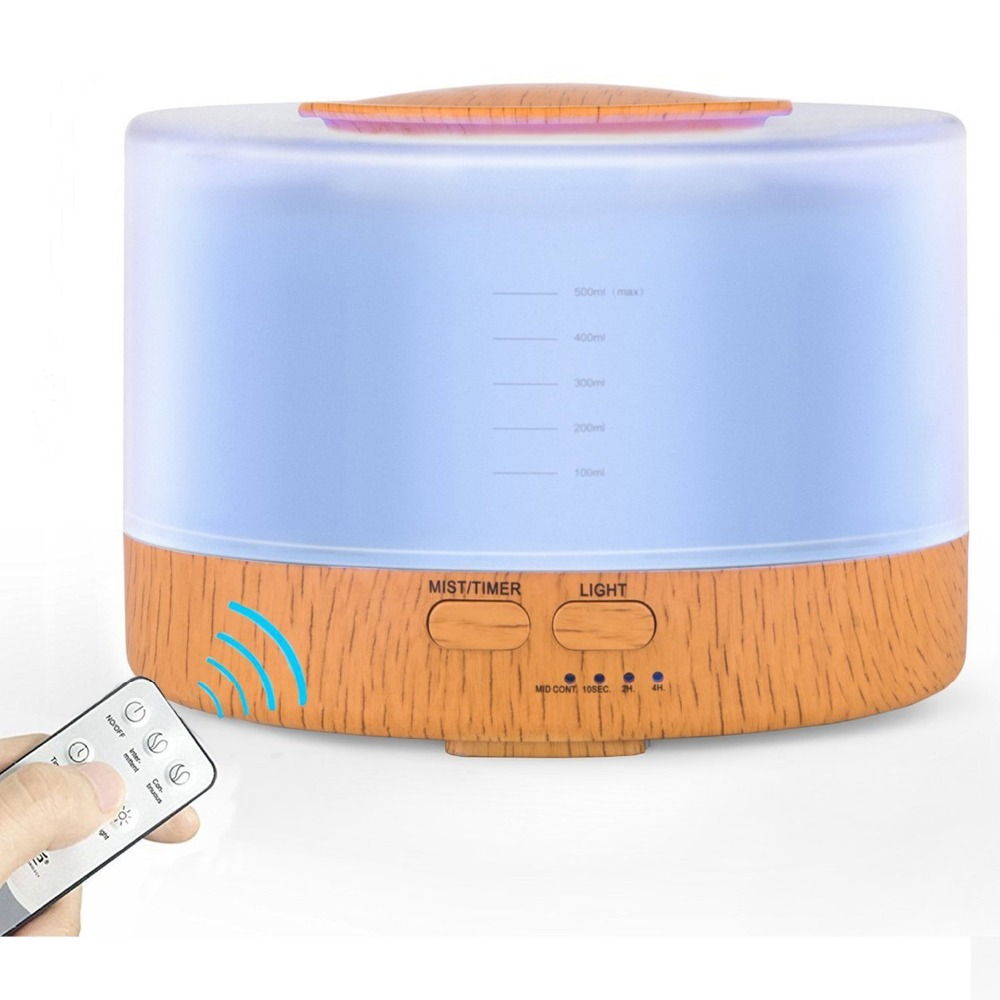 500ml Remote Control Ultrasonic Humidifier Fogger Aromatherapy Essential Oils Diffuser Portable Nebulizer LED Aroma Lamp aroma diffuser with exclusive music player real wood ultrasonic humidifier nebulizer fogger for portable vaporizer