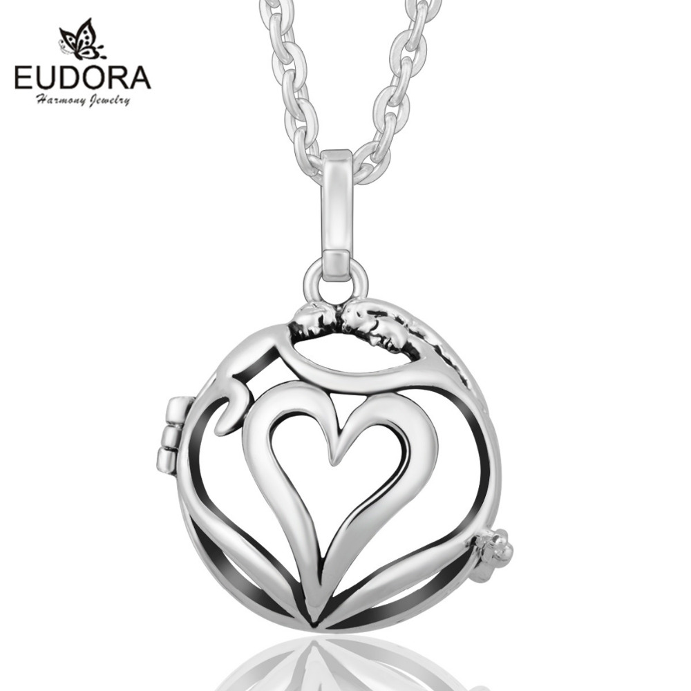 Harmony Bola Hollow Heart Locket Cage Pendant fit 20mm Chime Mexican Bola Angel Caller Pendants Necklace for Pregnant Women Gift