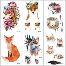 WYUEN Fox Cat Temporary Tattoos on The Body for Women Man Lion Horse Flower Fake Tattoo 9.8X6cm Waterproof Tatoo Sticker A-091