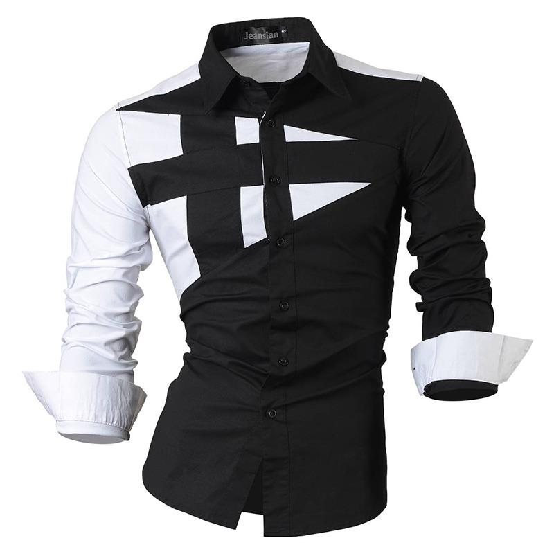Jeansian Men's Dress Shirts Casual Stylish Long Sleeve Designer Button Down Slim Fit 8397 Black