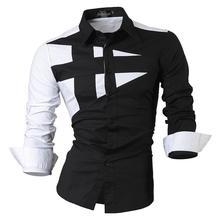 Jeansian Mens Dress Shirts Casual Stylish Long Sleeve Designer Button Down Slim Fit 8397 Black