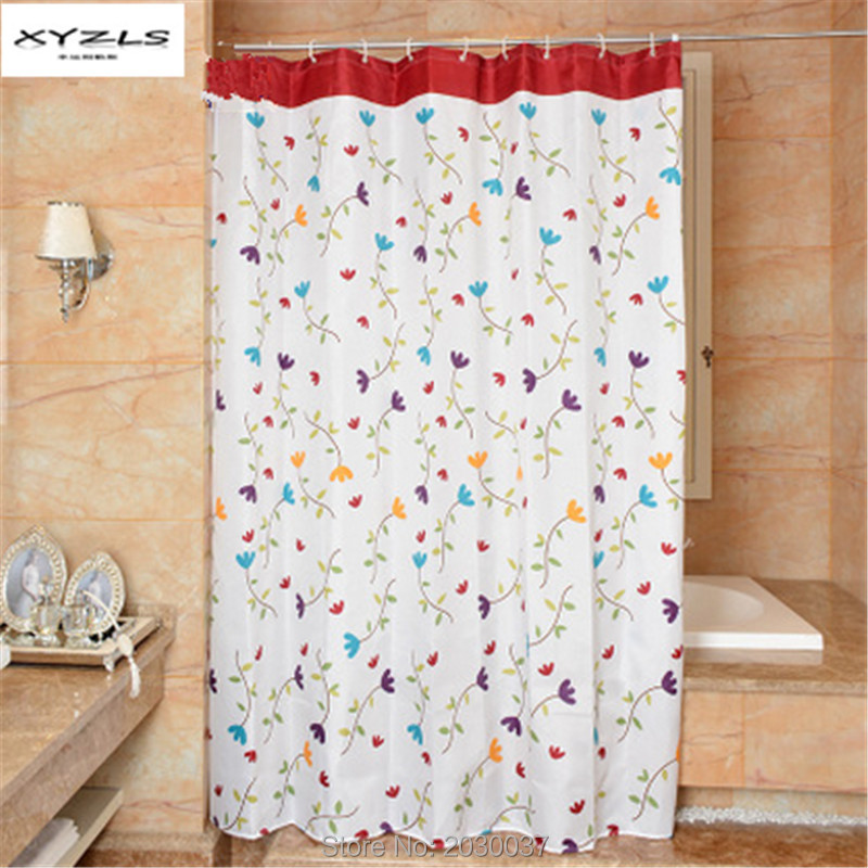 XYZLS Pastoral Style Floral Printed Shower Curtain Bathproof Waterproof Mildewproof Polyester Fabric with Hooks 180x180cm