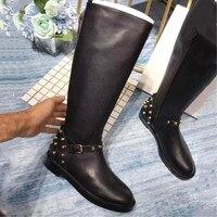 С волнообразным краем; Zapatos De Mujer; Лидер продаж Для женщин ботинки с высоким голенищем 2019 Роскошная брендовая, Дизайнерская кожаная и носок н