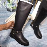 Zapatos De Mujer Лидер продаж Для женщин ботинки с высоким голенищем 2019 г. Роскошные Брендовая Дизайнерская обувь кожа и носок на шнуровке не сужаю