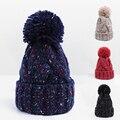 Beautiful !!2016 Unisex Warm Knit Hat Winter Hat Cap Skullies Beanies Women Hat Female Cap Women Beanie Drop Shipping