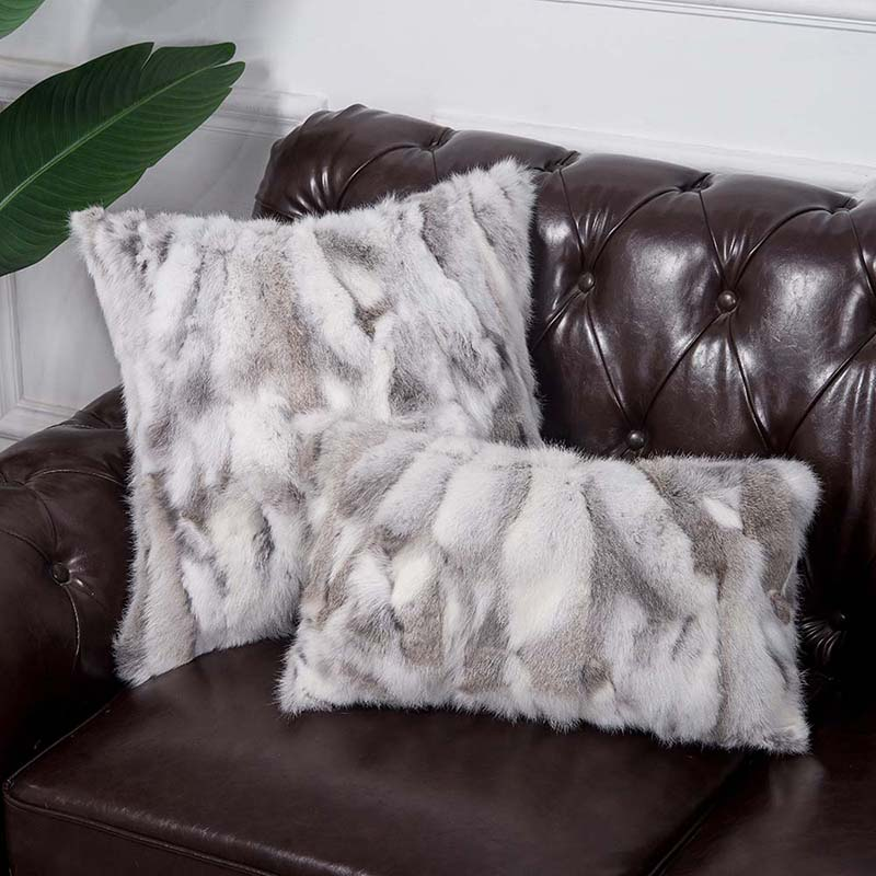 natural rabbit fur pillow case 800