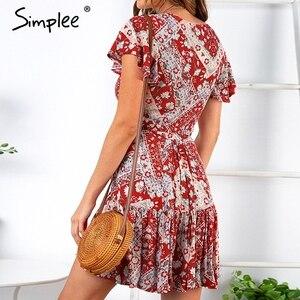 Image 4 - Simplee Bohemian print summer dress women Ruffled short sleeve sashes mini dress Wrap v neck sexy ladies dresses vestidos 2019
