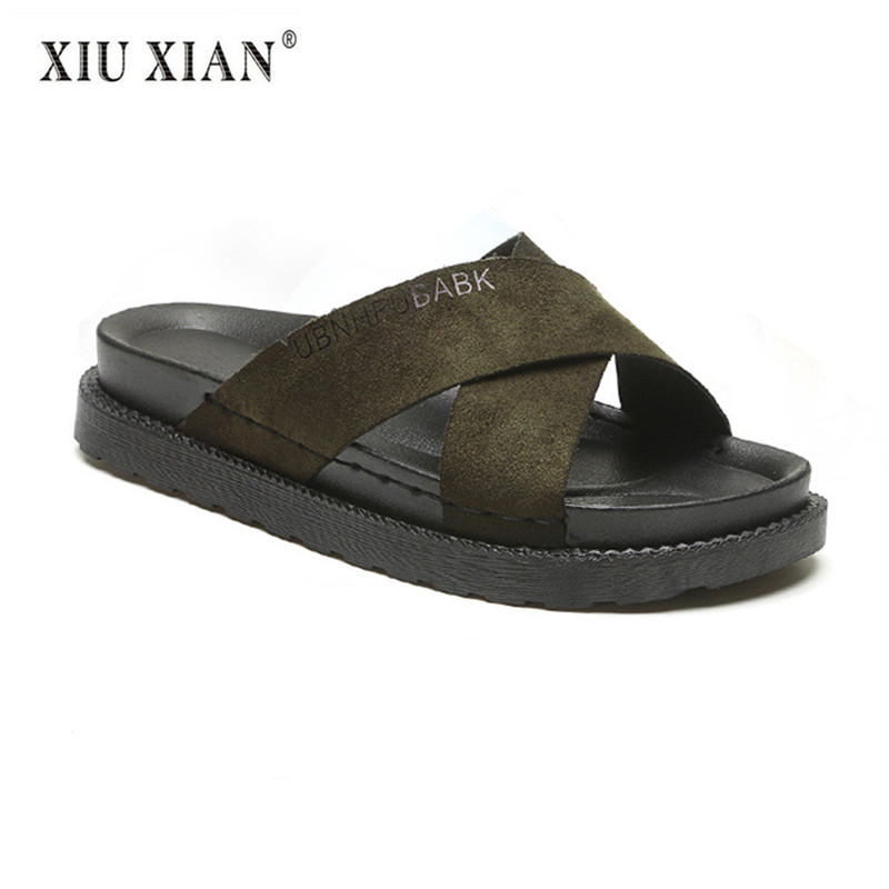New Fashion Suede Thick Bottom Women Summer Flip Flops Breathable Platform Lady Outside Beach Shoes Hot Sale Home Floor Slippers