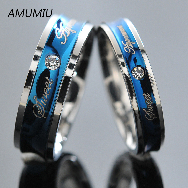 AMUMIU Blue Love Couple Rings Wedding Engagement Korean Jewelry, His and Hers Promise Ring Stainless Steel HZR017