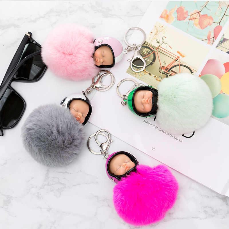 Fantasia & Fantasy New Fluffy Rabbit Fur Pompom capacete Da Motocicleta Bebê Dormindo Boneca Chaveiro Chaveiro Carro Chaveiro Mulheres De Pele brinquedo