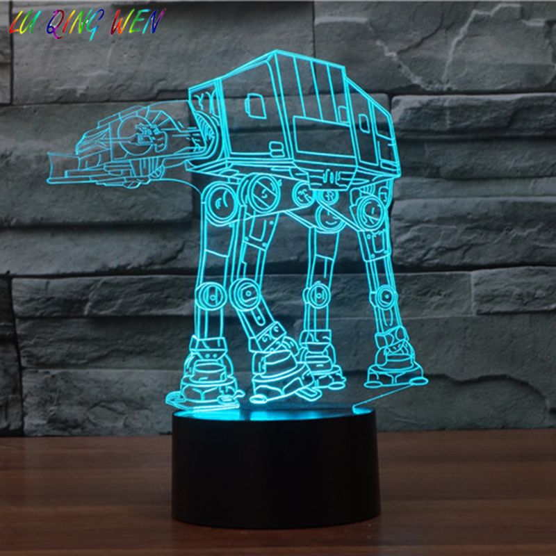 Kids Led Night Lamp Star Wars AT Walker Awesome Nightlight for Child Bedroom Imperial Ground Forces Transport Boy Light
