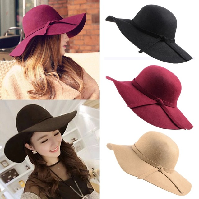 Nova venda chapéus Do Vintage para mulheres Lady Feltro de Lã de Disquete Sun Beach Aba Larga Cloche Fedora Bowler Hat Cap gorro chapeu