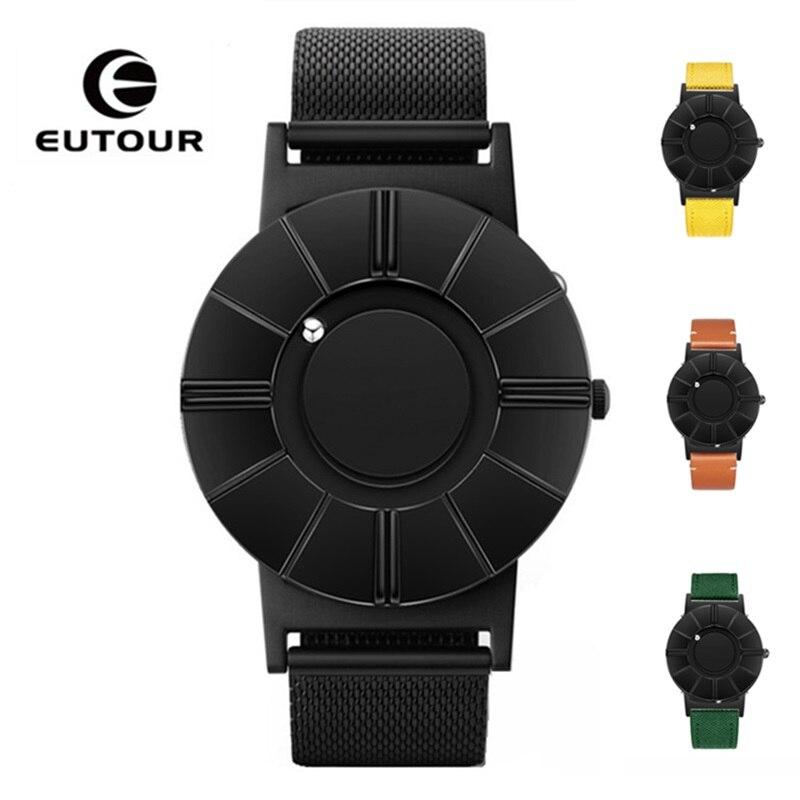 EUTOUR Men Watch Magnetic Ball Show Man Watch 2019 Stainless Steel Strap Waterproof Mens Quartz Wristwatches