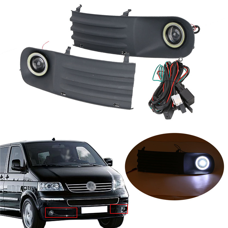 LED Daytime Fog Lights Angel Eye Front Bumper Grille for VW Transporter T5 T28 T30 2003-2009	// front bumper fog lamp grille led convex lens fog light angel eyes for vw polo 2001 2002 2003 2004 2005 drl car accessory p364