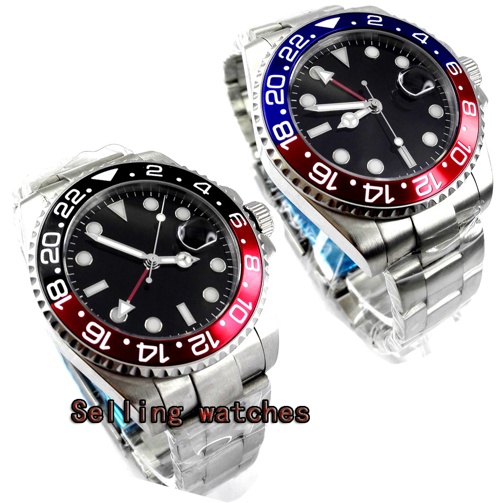 parnis 43mm black dial stainless steel case Sapphire glass calendar GMT mechanical automatic watch men цена