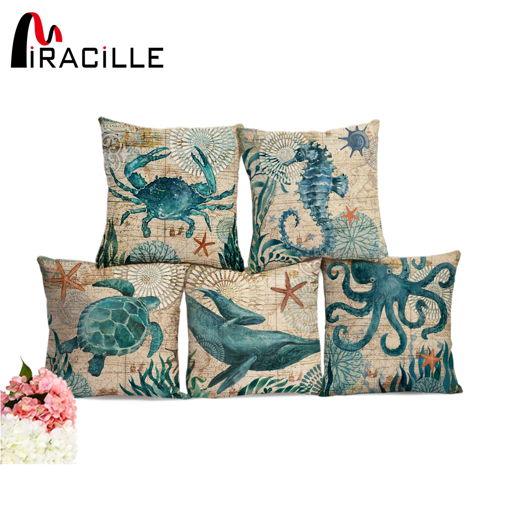 Miracille Sea Turtle Printed Cotton Linen Cushion Cover Marine Ocean Sea Horse Home Decor Pillowcase Octopus Sofa Cushion Case   decorative pillowcase chic towers pattern square comfy cushion cover