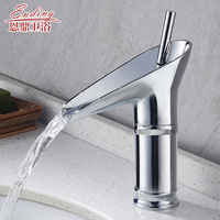 Basin Faucets Antique Brass Brushed Faucets Mixer Taps Waterfall Spout Water Tap Bathroom Sink Faucet Gold