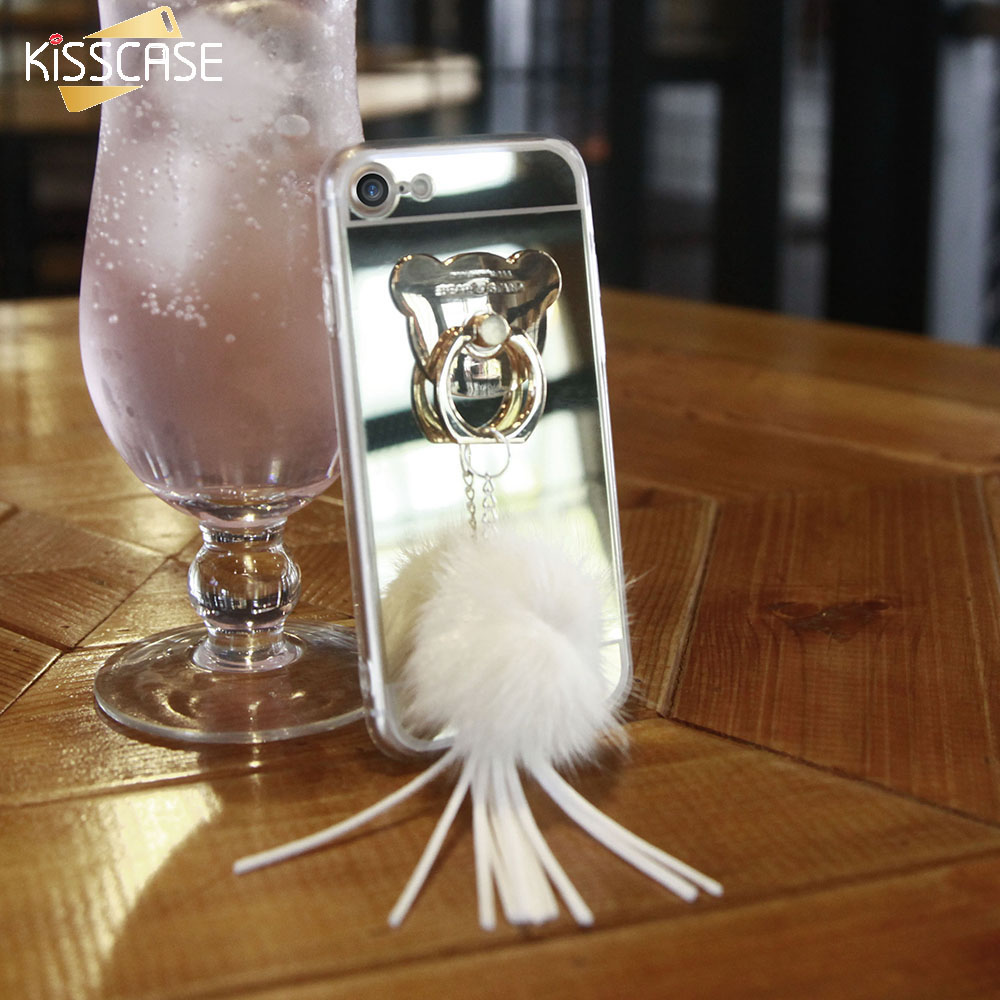 KISSCASE Phone Cases For iPhone 7 7 Plus Case Silicon Acrylic Mirror Back Cover For iPhone 7Plus Case Fur Coque Fundas Shell