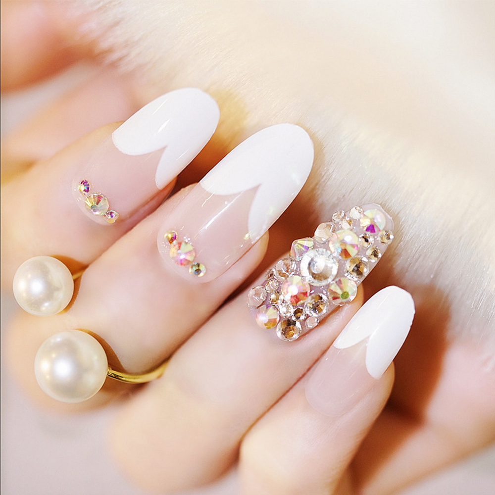24pcs/Set Full Diamond Bride Nail Art Tips Heart Shaped French Full ...