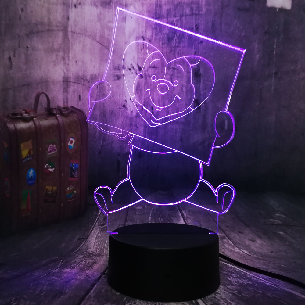 New Design Cartoon Cute Honey Winnie Bear LOVE 3D LED Night Light Bulb Room Decoration Kid Gift Novelty Touch Remote Table LampNew Design Cartoon Cute Honey Winnie Bear LOVE 3D LED Night Light Bulb Room Decoration Kid Gift Novelty Touch Remote Table Lamp