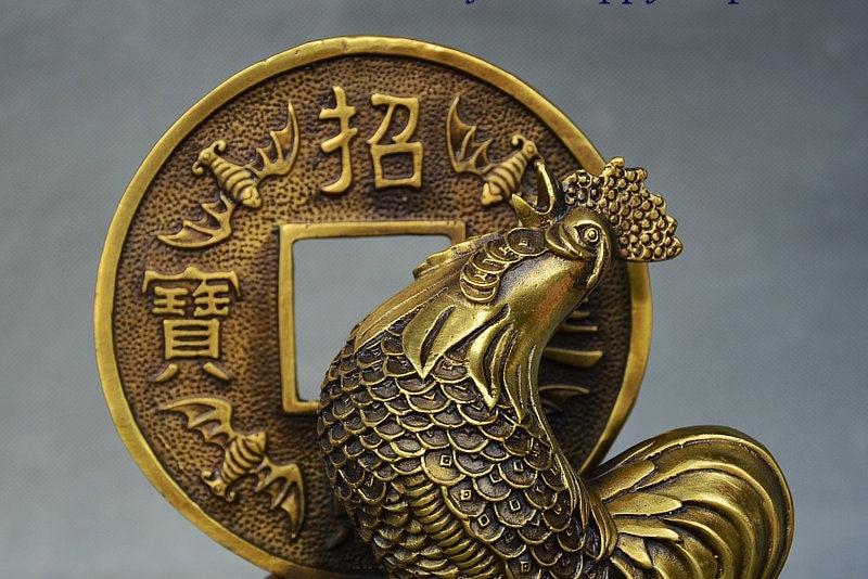 Chinois cuivre Bronze Feng shui richesse coq coq pièce Tongqian Yuanbao Statue