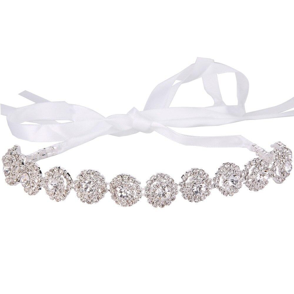 BELLA Fashion Flower Rhinestone Hairband Satin Ribbon Austrian Crystal Bridal Head Tiara For Wedding Accessory Party