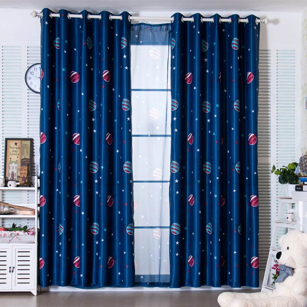 Latest 2 Colors Blue Planet Star Wars Cartoon Curtains For Boys Bedroom Kids Living Room Shade