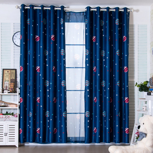 latest 2 colors blue planet star wars cartoon curtains for boys bedroom kids living room shade. Black Bedroom Furniture Sets. Home Design Ideas