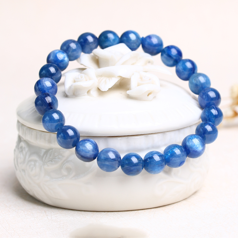 Aladdin Natural kyanite Blue crystal bracelet cyanite Round beads Male and female Bangles with opals luxury Lucky couple gifts