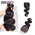 Beyo produtos de cabelo encerramento com 3 feixes de cabelo humano onda do corpo malaio fechamento parte do meio virgem malaio do cabelo