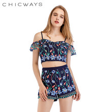 9ad24589b6eb1c Chicways Floral Embroidery Top Cold Shoulder Crop T-Shirt and Shorts Set 2  Piece Set