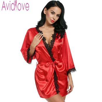 Avidlove Brand Robes Women Sexy Nightwear Plus Size Lace-trimmed Satin Female Bathrobes Lounge Robe Casual Loose Home Clothing Top
