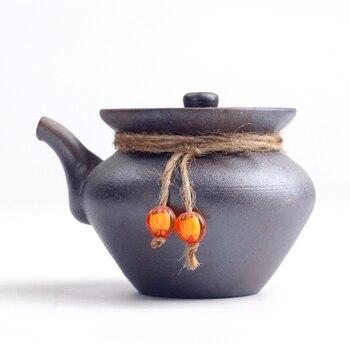 200 Ml Stile Giapponese Dell'annata Mano Teiera Afferrare Pentola Ceramica Grossolana Del Puer Teiera Kung Fu Tea Set Bollitore Creativo Home Decor New