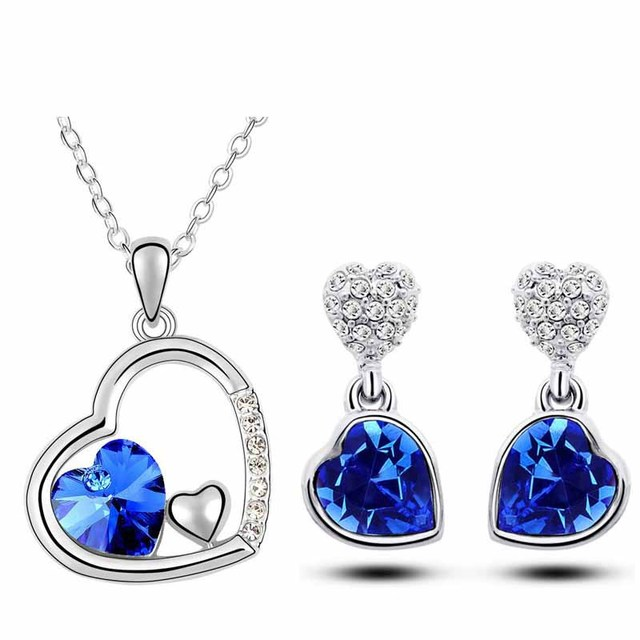 White Gold Plated Crystal Jewelry Set