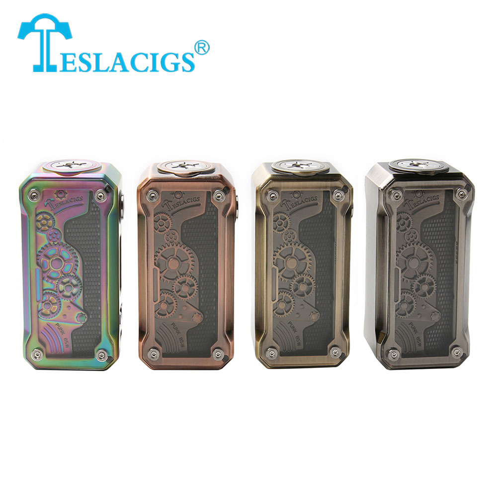2018 New 85W Original Tesla Punk TC Box MOD with RGB LED Flash Modes & 85W Max Output No 18650 Battery Punk Style Design TC Mod