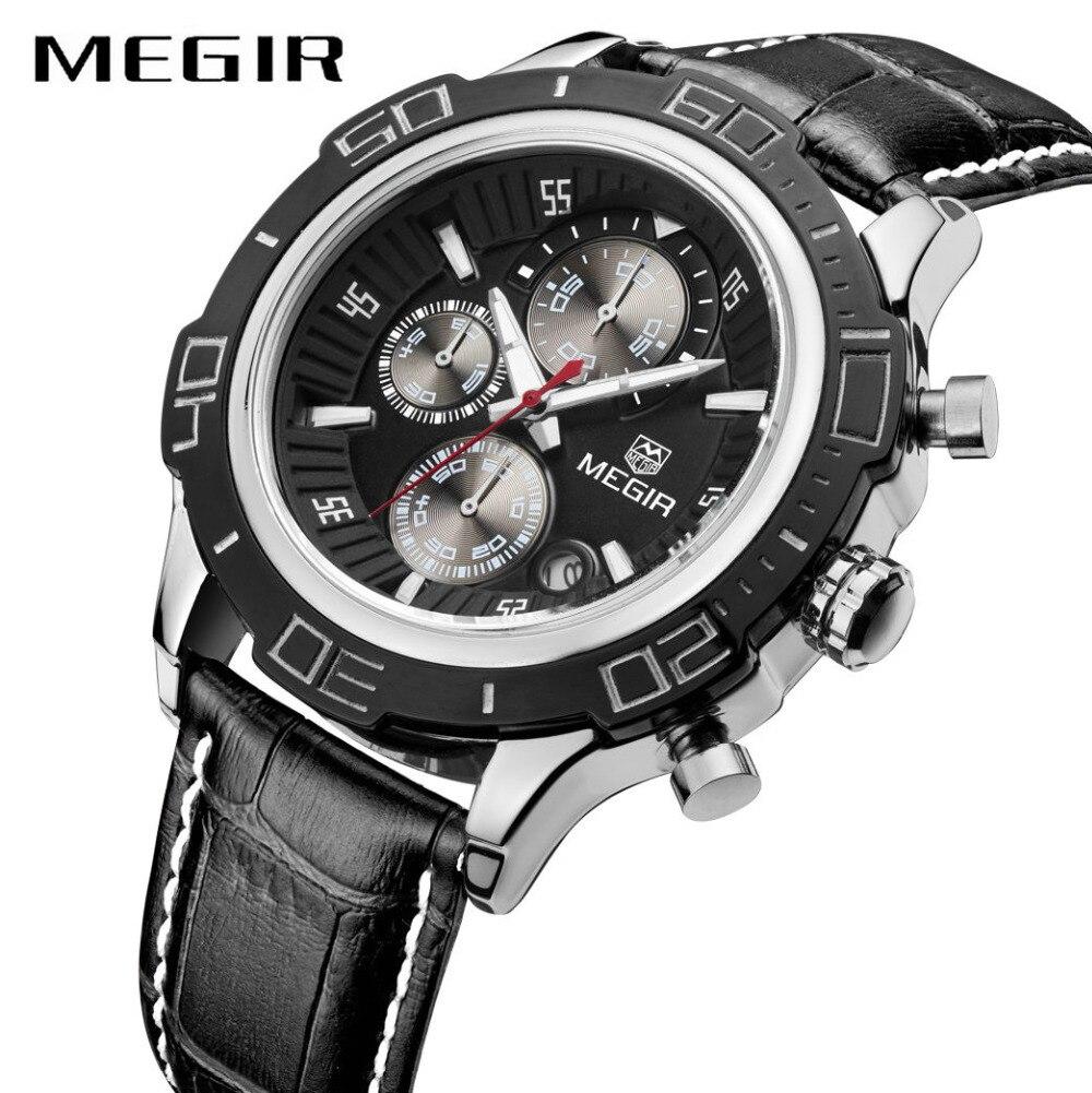 MEGIR Army Military Men Quartz Watch 3 Time Zone Super Number Genuine Leather Strap Date Display Pilot Boyfriend Wrist Watches