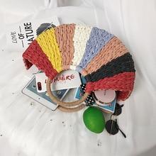 купить 2019 New Women round bucket semicircle straw bag handmade rattan handbag Summer Straw Beach Bag Travel Shopping Female Tote Bags дешево