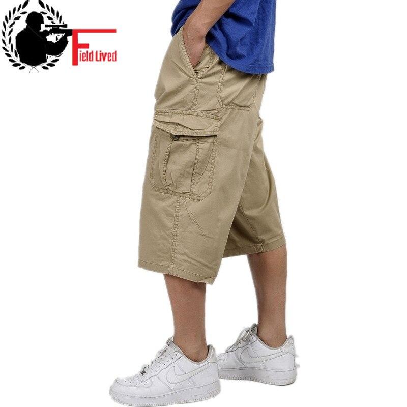 Military Style Summer Men Baggy Cargo Cotton Knee Length Pant Casual Trouser Male Large Loose Big Size Khaki Xxl 3xl 4xl 5xl 6xl