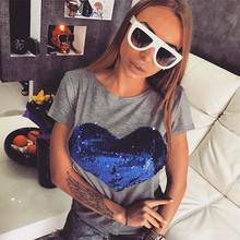NiceMix 2019 T-shirts New Summer Tshirts for Women Tops Fashion Blue Heart Sequin T Shirt Female Harajuku T-shirt Camisas