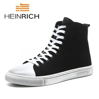 HEINRICH 2018 New Arrival Fashion Breathable Comfortable Spring Summer Casual High Top Shoes Minimalist Design Black Sneakers