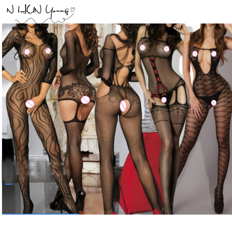 New Plus Size Women Sex Costumes Ladies Hot Sexy Lingerie Transparent Erotic Underwear Babydolls Sleepwear Body Stocking wy323